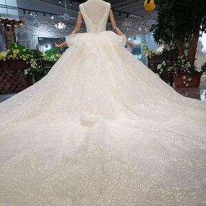 Image 3 - HTL293 Open back sleeveless Wedding Dress with wedding veil tassel backless  v neck shiny bridal dress элегантное платье