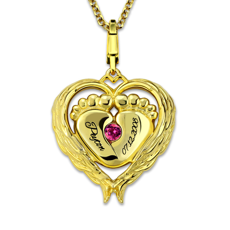 AILIN personnalisé couleur or estampillé à la main ange aile collier bébé pieds pendentif pierre de naissance collier cadeau pour mère