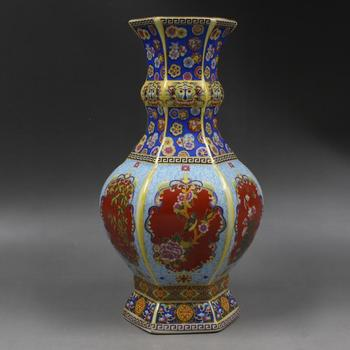 Qing Yong Zheng year mark golden enamel hexagon flower vase Home Furnishing antique porcelain ornaments antiques boutique