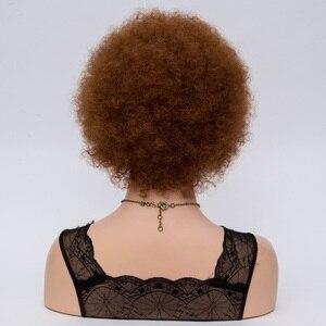 Image 5 - Msiwigs Vrouwen Korte Kinkly Krullend Afro Pruiken Donkerbruin Synthetisch Haar Pruik Amerika Afrikaanse Cosplay Pruiken