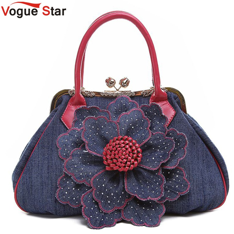 Vogue Star 2018 Top Quality Brand New Women Bag Fashion Denim Handbags Flower Shoulder Bags Design Womens Tote Bags LS376 цена 2017
