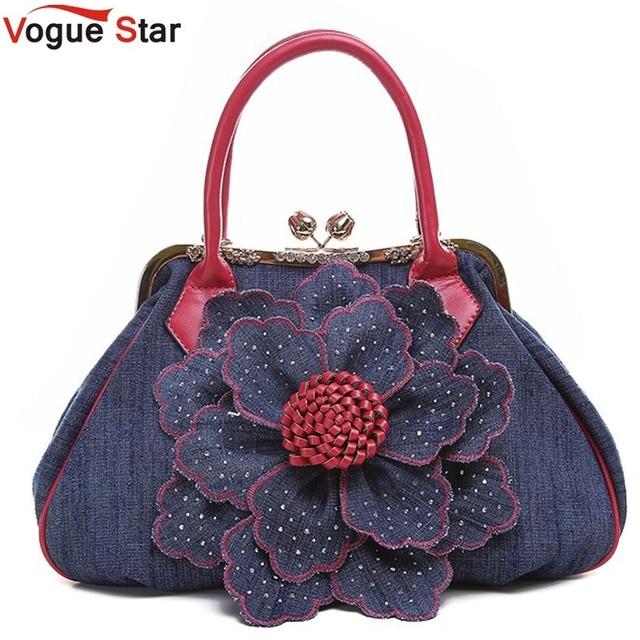 Vogue Star 2018 Top Quality Brand New Women Bag Fashion Denim Handbags Flower Shoulder Bags Design