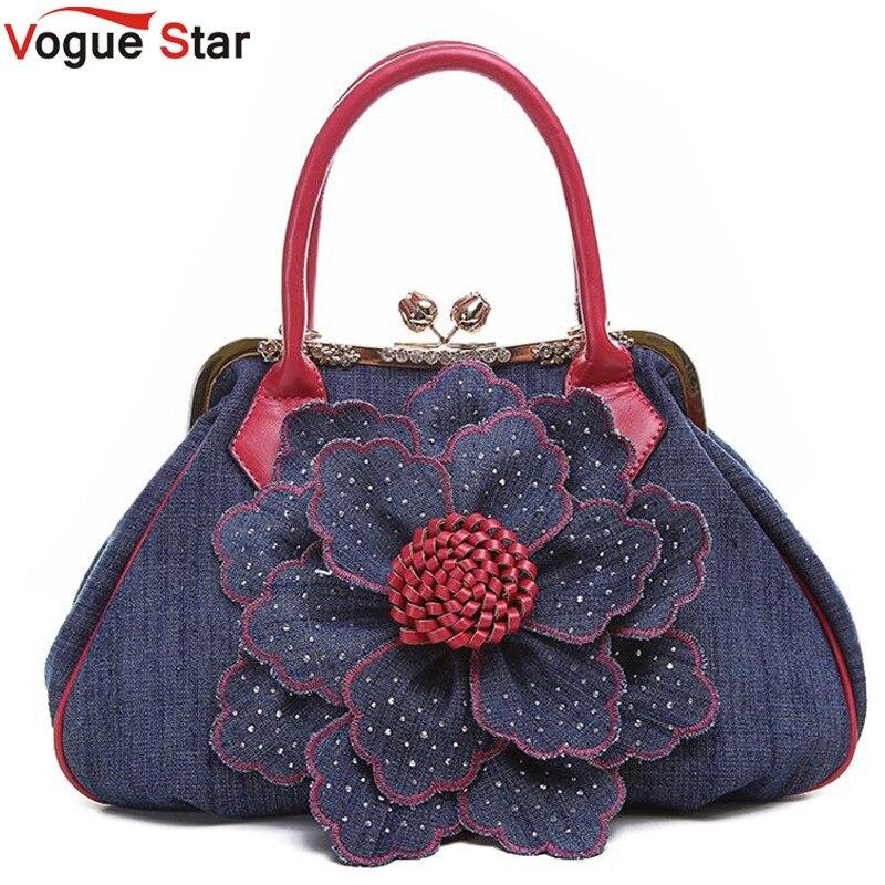 Vogue Star 2018 Top Quality Brand New Women Bag Fashion Denim Handbags Flower Shoulder Bags Design Womens Tote Bags LS376