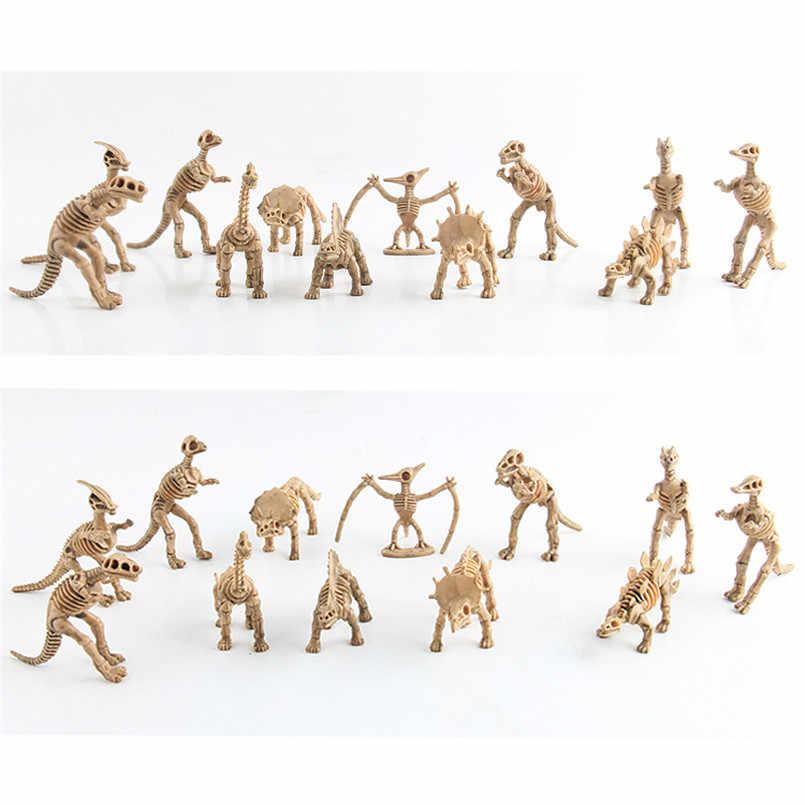 6 pçs/set Esqueleto Fóssil de Dinossauro Animal Kit Modelo de Simulação Brinquedo Jurássico Mundo Figuras de Ação Brinquedo Educativo Para As Crianças