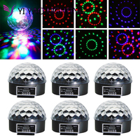 6pcs/lot Mini RGB Stage Light Effect Crystal Magic Ball Disco DJ Light With
