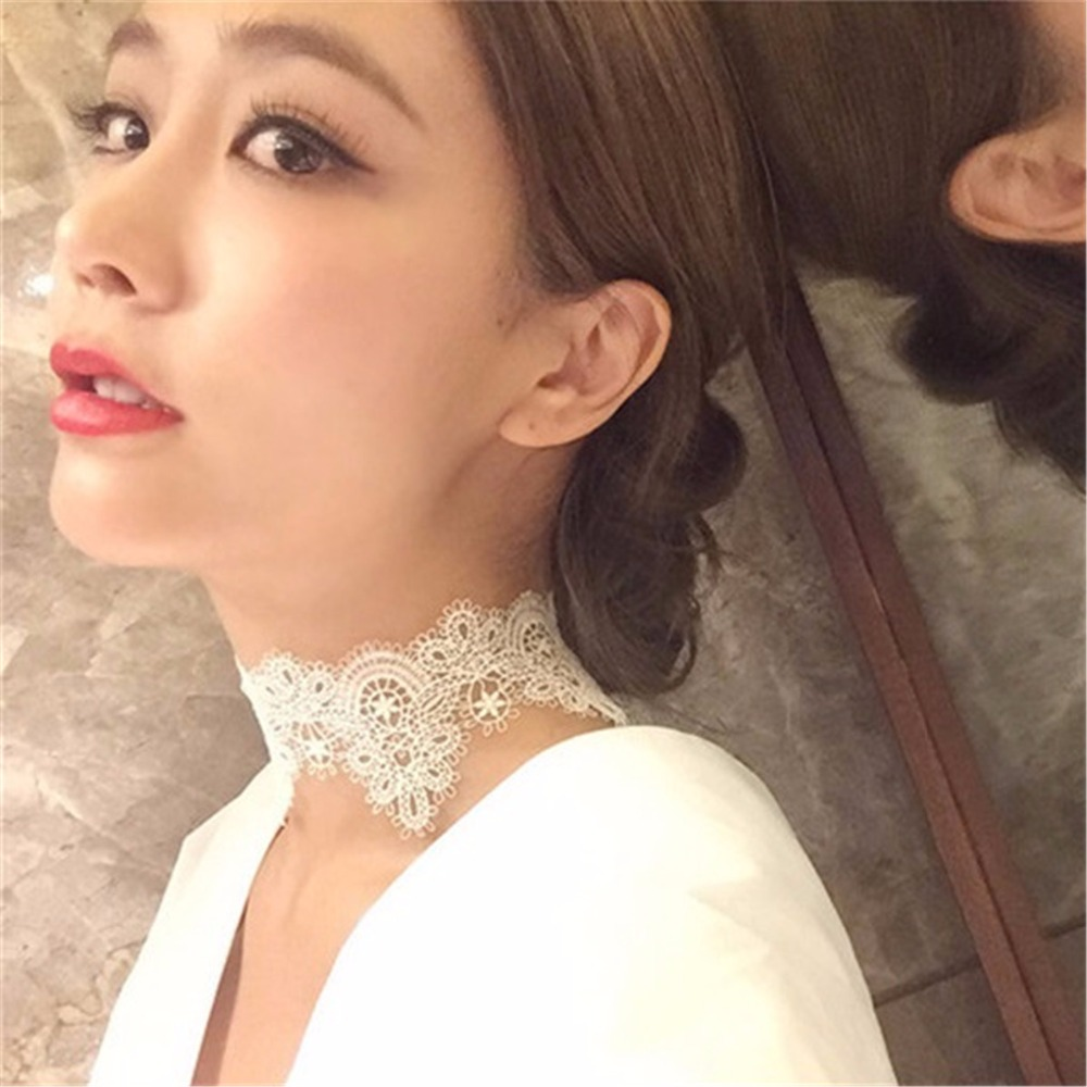 Black lace choker necklace womes