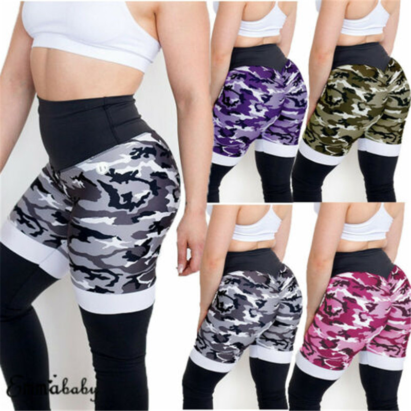 Women Casual Camo Pants Hip Push Up High Waist Elastic Trousers Leggings Sexy Fitness Workout Stretchy Skinny S M L XL
