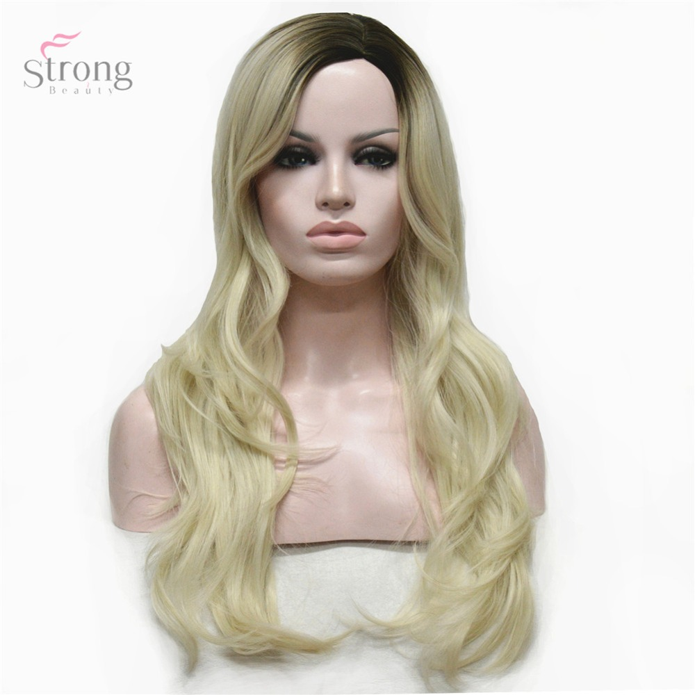 StrongBeauty Women's Wig Blonde Ombre Long Curly Hairstyles Hair Synthetic Heat Resistant Fiber Full Wigs