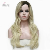 StrongBeauty Women S Wig Blonde Ombre Long Curly Hairstyles Hair Synthetic Heat Resistant Fiber Full Wigs