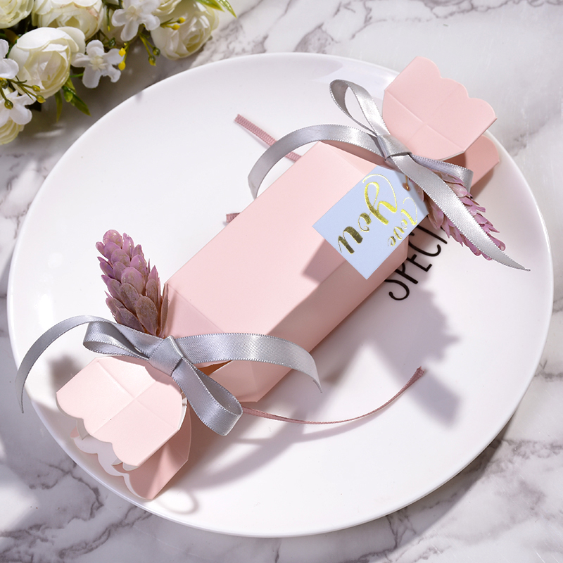 50pcs lots Pink gift box baby shower candy box wedding favor boxes packaging paper bags baby