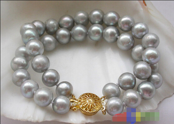 Free Shipping 2row 11mm Gray Round Freshwater Cultured