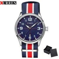 New Curren Watches Men Top Brand Luxury Mens Nylon Strap Wristwatches Men S Quartz Popular Sports