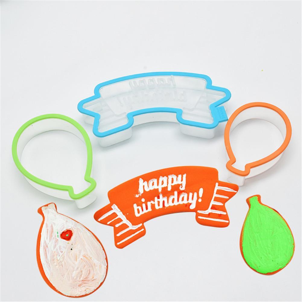 3pcs Balloon Shaped Sugar Cookie Cutter Cupcake Happy Birthday Cake Mold Decor Plastic Cookies Mold Fondant Chocolate Molds