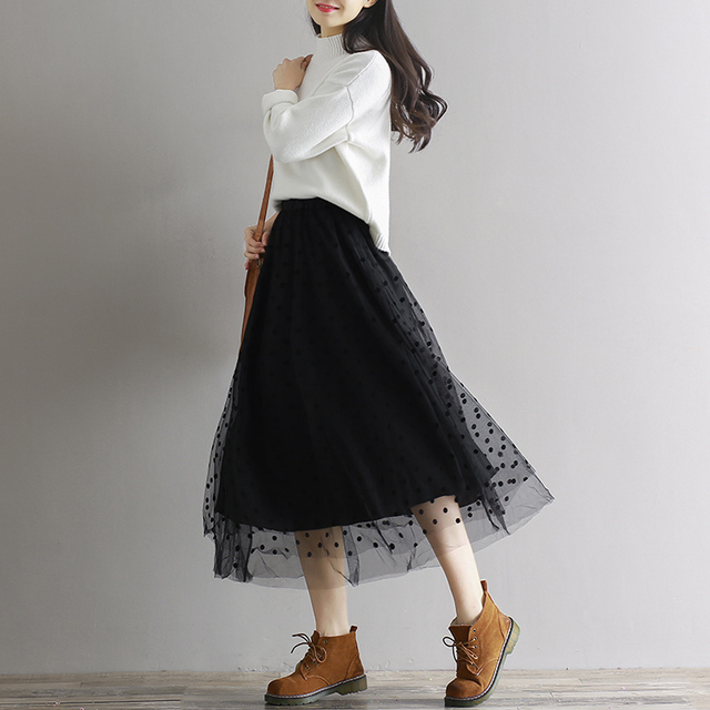 3 Layers Women High Waist Mesh Skirt Spring Aurumn Korean Fashion Dot Long Skirts Wedding Party Saias Female