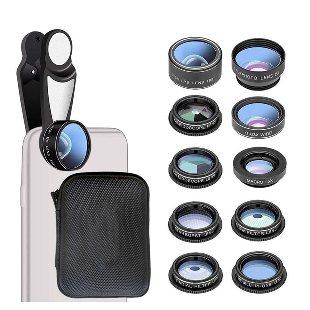 10 in 1 Mobile Phone Lens Kit Fisheye Wide Angle Macro 2X Telescope Len