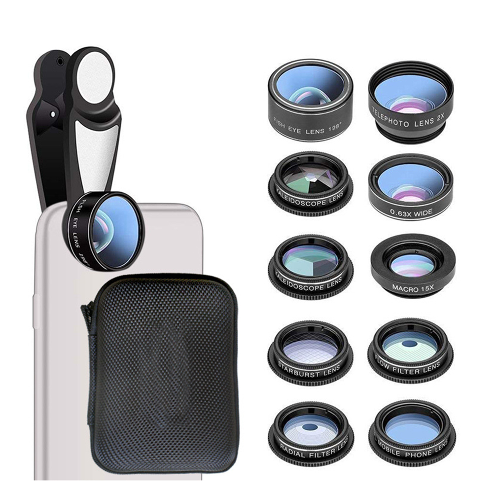 10 in 1 Mobile Phone Lens Kit Fisheye Wide Angle Macro 2X Telescope Lens for iPhoneX 8 7 6 Huawei Camera Lens Smartphone Tablet