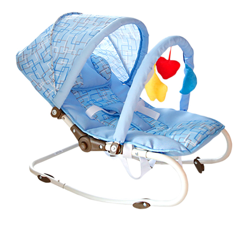 Portable Baby Rocking Chair, can sit can lie Multifunctional Baby Cradle, steel pipe Baby Chair with mosquito net thicken steel frame baby electric rocking chair can appease baby to sleep prevent baby spitting milk baby chair can be cradle