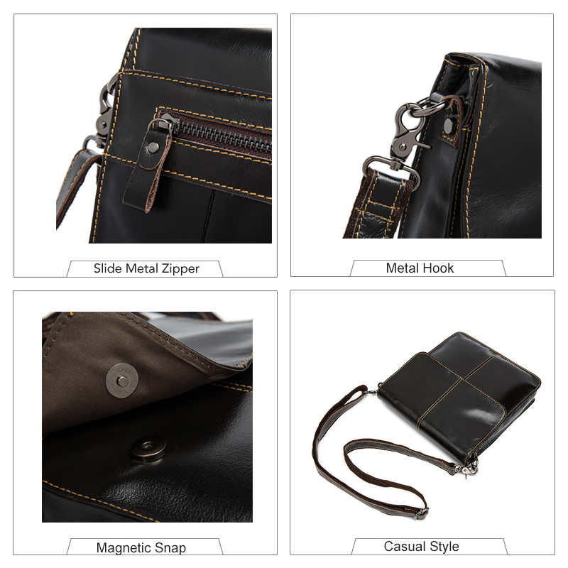 Image 3 - WESTAL Messenger Bag Men's Shoulder bags Genuine Leather Small flap male man Crossbody bag for Messenger men Leather bags 8821-in Crossbody Bags from Luggage & Bags
