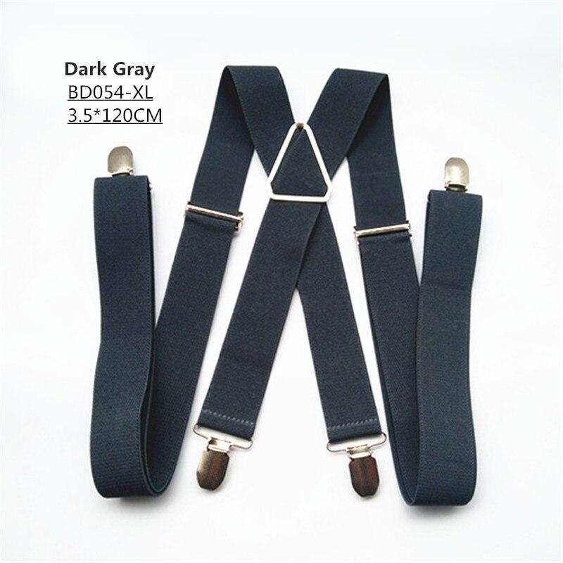 Одноцветные подтяжки унисекс для взрослых, мужские XXL, большие размеры, 3,5 см, ширина, регулируемые эластичные, 4 зажима X сзади, женские брюки, подтяжки, BD054 - Цвет: Dark grey-120cm
