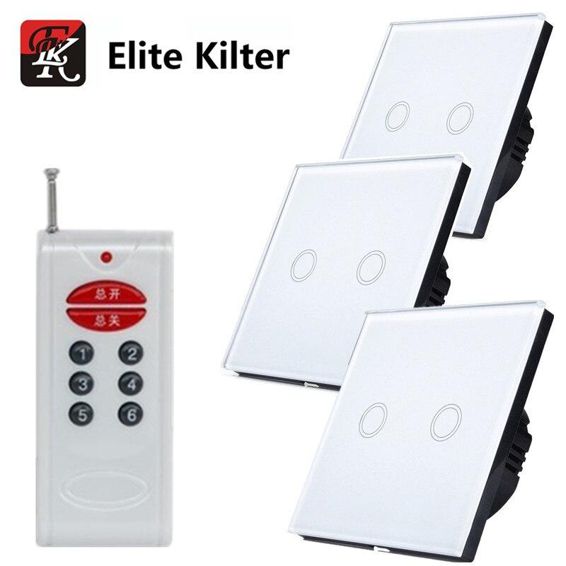 Elite Kilter EU/UK Standard 220 V commutateur tactile 2 Gangs 3 voies interrupteur ensembles pour appliques avec télécommande