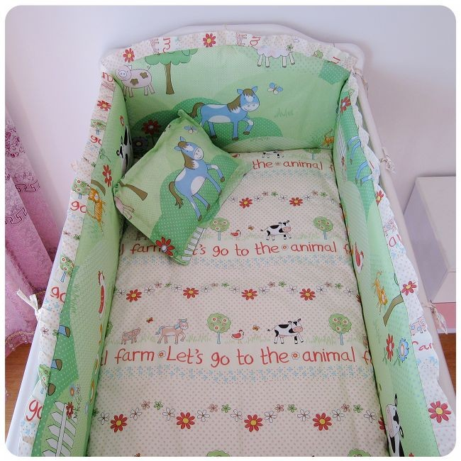 Promotion! 6PCS Baby cot bedding sets Bed Linen 100% cotton bedclothes crib bedding set, ,include(bumper+sheet+pillow cover)