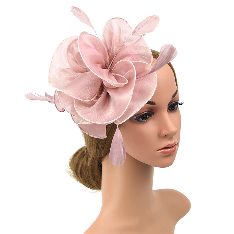 Fascinator With Headband Feather Floral Pillbox Netting Hat For Women Cocktail Pink