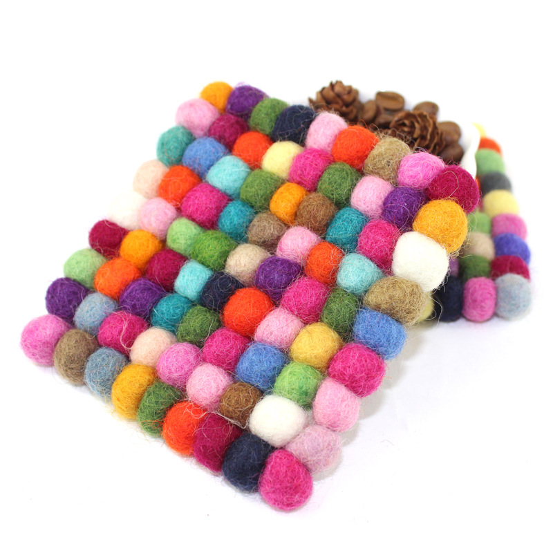 Handmade Wool Round Square Felt Coaster Felt Crafts Cup Pot Mat - Kitchen, Dining and Bar - Photo 2
