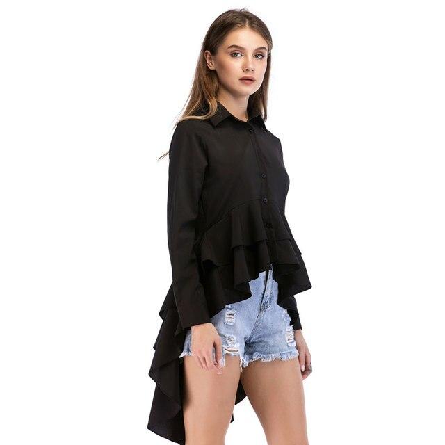 003288cef Apperloth Black White Dovetail Ruffle Shirt Women 2018 Autumn Office Lady Lapel  Tops Female Long Sleeve High Low Ruffles Blouses