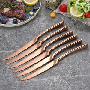 Image 2 - 6Pcs/set Stainless Steel Black Rose Gold Silver Steak Knife Sharp Table Knives Set Restaurant Cutlery Flatware Dinnerware set