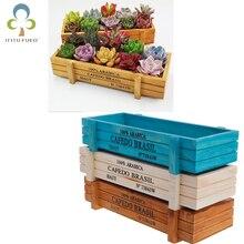Maceta de madera para jardín, cajas de madera Vintage decorativas para suculentas, cajas rectangulares, maceta, dispositivo de jardinería TDJ