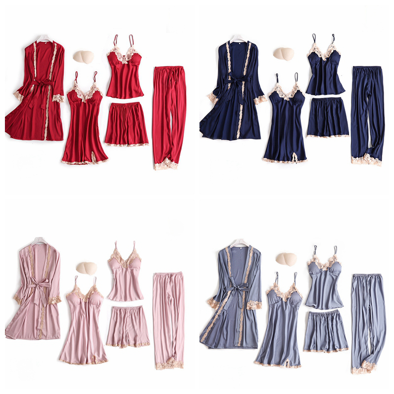 JULY S SONG 5 Pieces Pajamas Set Sexy Lace Satin Silk Sleepwear Women Summer Spring Fashion