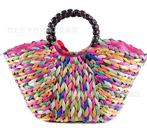 Country style handicraft plant straw bags exported to Europe  summer Women straw bag beach bag.