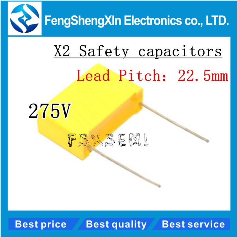 10pcs/lot X2 Safety <font><b>capacitors</b></font> 22.5mm 275VAC 275V 0.33uf 0.56uf 0.82uf <font><b>1.2uf</b></font> 0.47uf 0.68uf 0.22uf 1.5uf 1uf Polypropylene film image