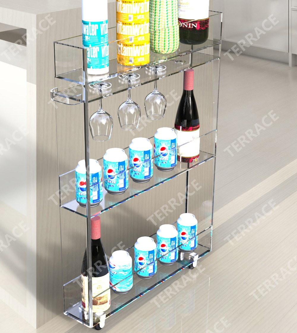Us 388 5 Rolling Acrylic Kitchen Storage Rack With Wine Glass Holder Lucite Bathroom Shelf With Handles In Kitchen Islands Trolleys From Furniture