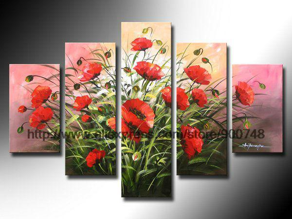 Flowers Painting Red Poppies Background African American