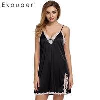 Ekouaer Sexy Satin Robe Sleepwear Silk Pajama Sexy Nightgown Women Nightdress Sexy Lingerie Plus Size S