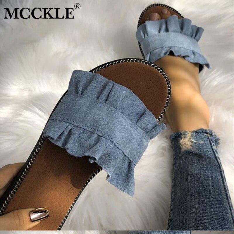 MCCKLE/Для женщин Повседневное летние пляжные шлепанцы женские парусиновые оборками шлепанцы тапочки обувь для девочек Женская обувь для отд...