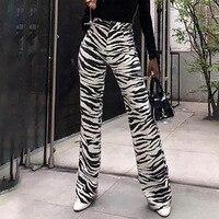 Striped High Waist Zipper Fly Casual Winter Pants Women Sexy Club Straight Wide Leg Sweat Pants Women Clothes Pantalones Mujer