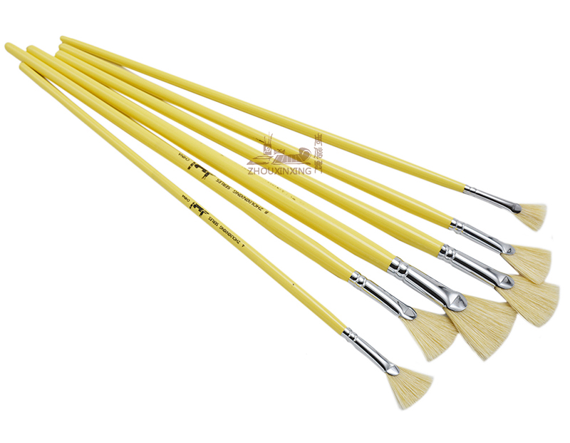 ZHOUXINXING 5 suit pig Bristles sector shape Yellow wood rod artist paint brushes watercolor for school Drawing Art Supplies