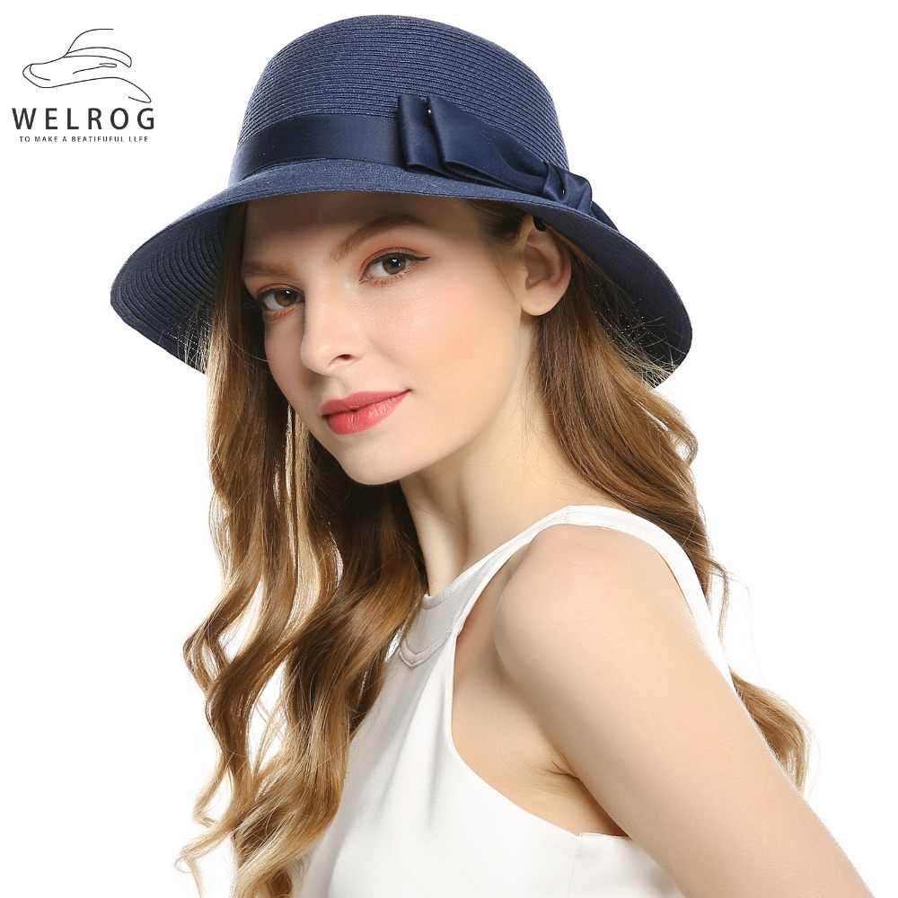 1dfc24ea7ca ... WELROG Women s Sexy Chapeau Ribbon Bow Knot Floppy Sun Caps New Spring  Navy Party Church Hats ...