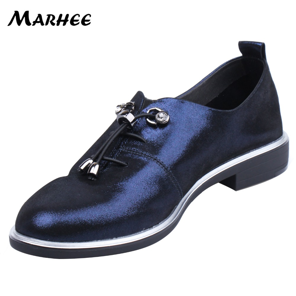 MARHEE Genuine Leather Leisure Silver Blue Loafers For Women Flats Soft Leather Lace-up Ladies Causal Shoes 2cm Low Heels цена