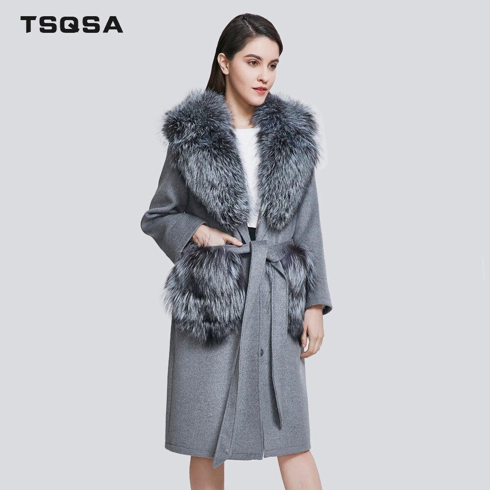 TSQSA Mode Réel Manteaux De Fourrure De Laine Parkas Vêtements Femmes Réel Fourrure De Renard Dame Vêtements Casual Généreux Marque Femelle Manteau TAC1811