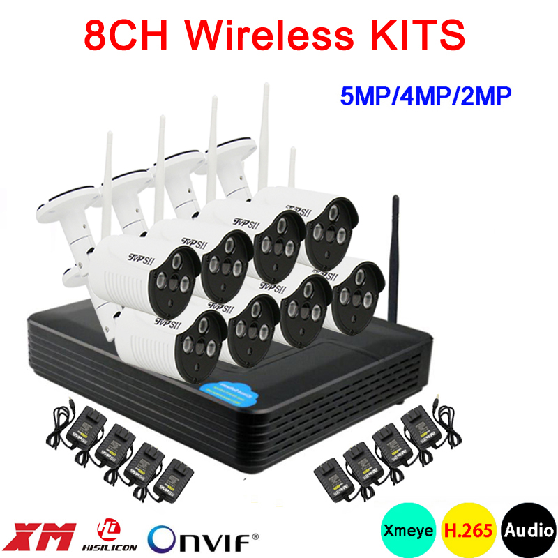 5mp 4mp 2mp Three array Infrared Audio ICsee Waterproof H 265 25fps 8CH 8 Channel WIFI