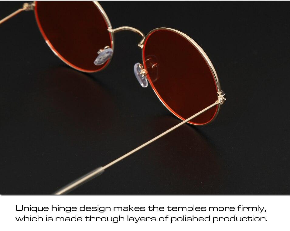 e9fb918252e32 ... Rodada do vintage Óculos De Sol Mulheres Lente Espelho Óculos de Sol da  Cor Do Oceano ...