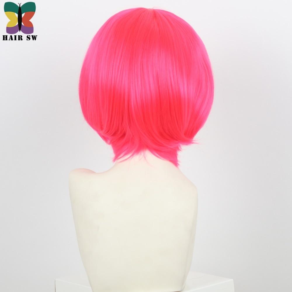 Σύντομη ρόδινη ζεστή ροζ περούκα - Συνθετικά μαλλιά - Φωτογραφία 3