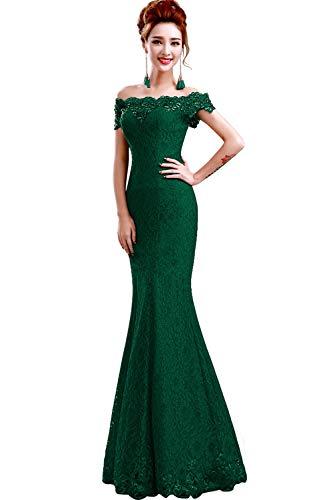 Misshow Русалка вечернее платье Розовое Кружевное длинное вечернее платье Элегантное с открытыми плечами без рукавов robe de Soiree - Цвет: Green