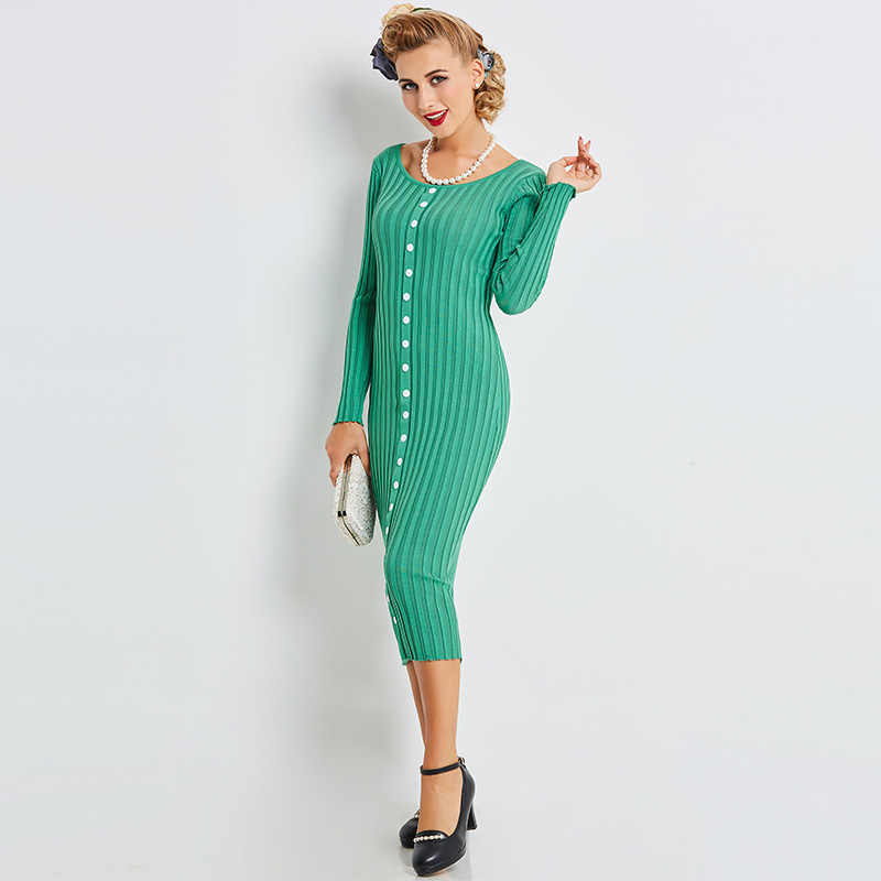 Striped Knitted Bodycon Pencil Dress Elegant Women Mint Green Sweater Dress  O Neck Long Sleeve Buttons e79aac18a
