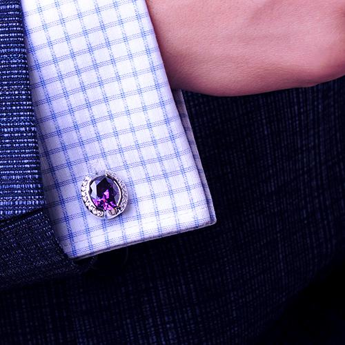 Kflk Luxury Designer Shirt Cufflinks Mens Cuff Buttons Purple Crystal Links High Abotoaduras Jewelry