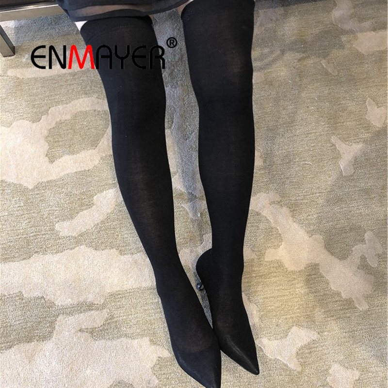 ENMAYER Women Over The Knee Boots Pointed Toe Shoes Winter Warm Lady Fashion Boots High Heels Sexy Thin heels Size 34-39 CR1580 enmayer high heels pointed toe spring