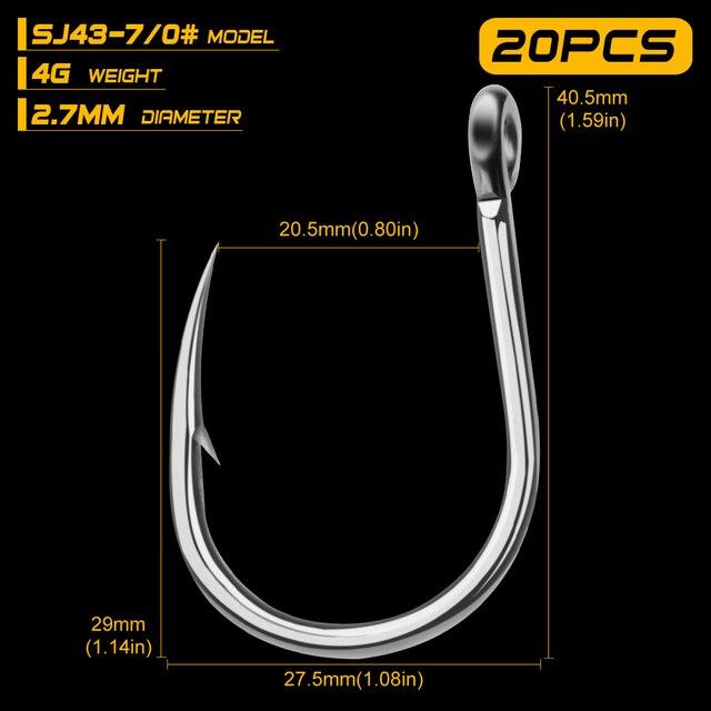 20pcs//Set Saltwater Fishing Hook Jigging Hook 1//0-13//0# Stainless Steel Hooks